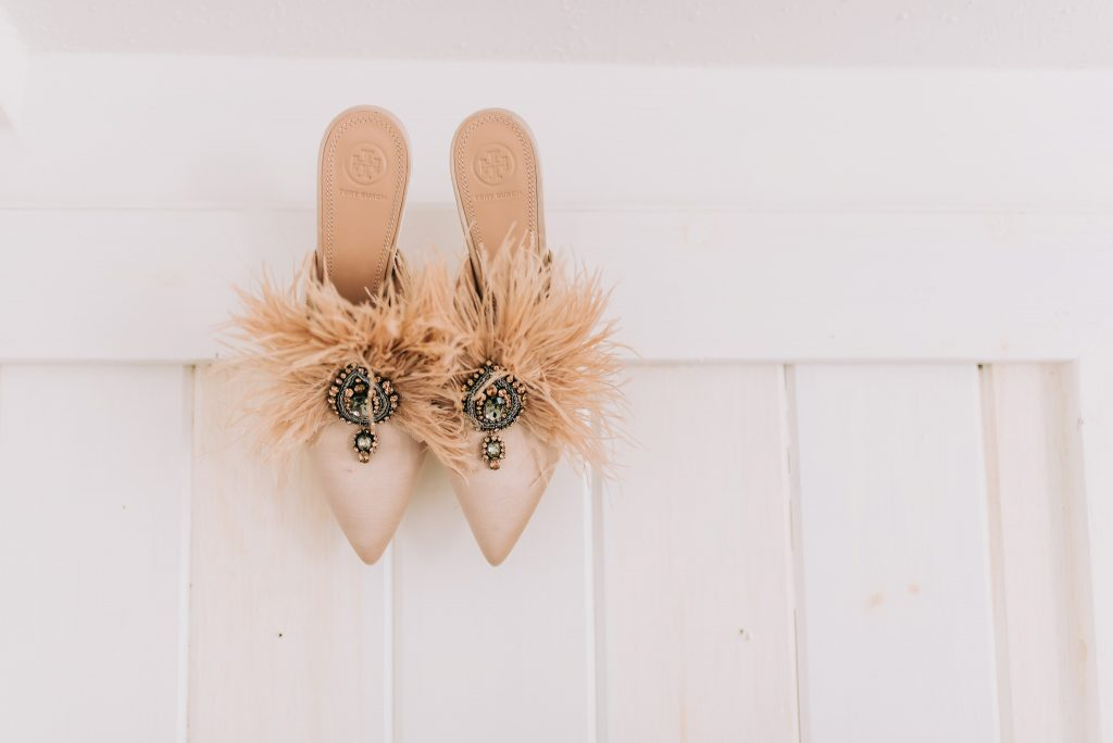 tory burch feather mule weddding shoes